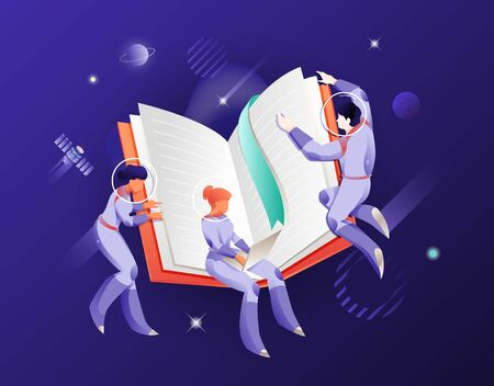 Open book and astronauts in space suits and helmets. Vector metaphor of  guidance or help. The cosmic concept for websites and app design