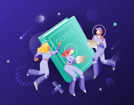Guide book and astronauts in space suits and helmets. Vector metaphor of  guidance or help. The cosmic concept for websites and app design
