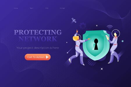 Protecting network web banner template. Vector metaphor of cyber security, computer technology. Big green shield with keyhole and astronauts around.