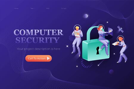 Computer security web header template. Vector metaphor of IT safety, computer technology. Big padlock with keyhole and astronauts around.