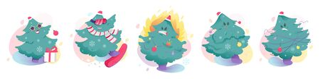 Modern funny sticker set with happy, snowboarding, in flames, angry and tangled Christmas tree.