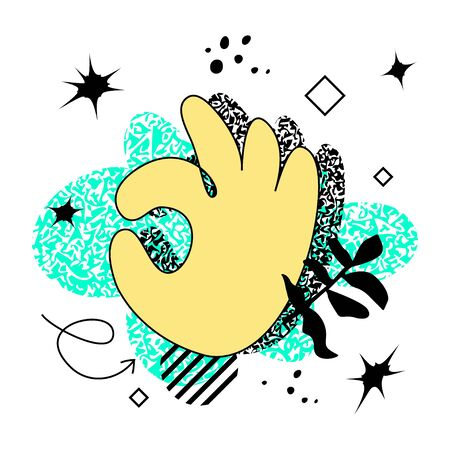 Abstract bold colored hand in OK gesture over bright neon background. Swiss punk design