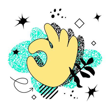 Mano colorata audace astratta nel gesto OK su sfondo al neon luminoso. Design punk svizzero
