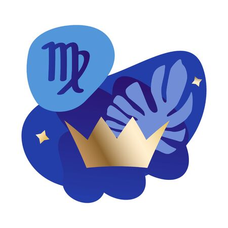 Virgo zodiac and horoscope concept. Modern vector art with golden crown as a Virgo metaphor. Illustration for horoscope and astrology apps, dating websites, astrology predictions.