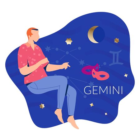 Gemini man zodiac and horoscope concept. Modern vector art with man and two masks. Illustration for horoscope and astrology apps, dating websites, astrology predictions.