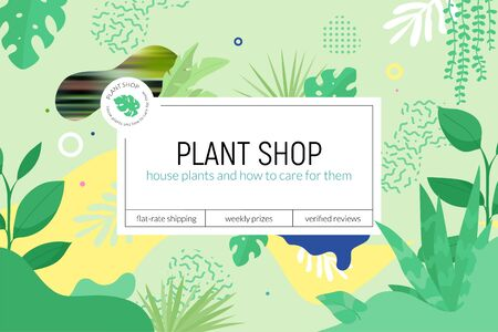 Plant shop web page design template with greenery abstract forms and plants, logo and place for text.