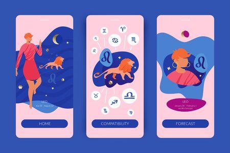 Leo zodiac sign. Mobile app screens for horoscopes, astrology applications, websites, predictions.