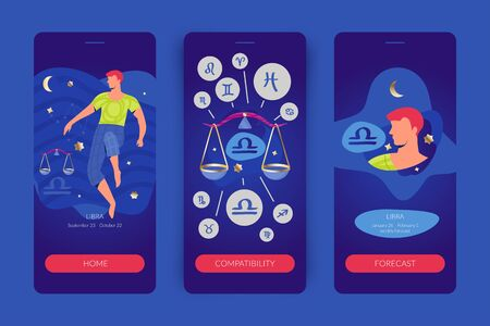 Libra man zodiac sign. Mobile app screens for horoscopes, astrology applications, websites, predictions. Çizim