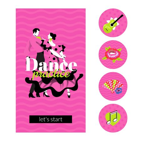 Dance practice design template in 9:16 aspect ratio with highlights icons. Dancing couple in traditional costumes. Layout with text for social media stories, promo materials. Archivio Fotografico - 138437246