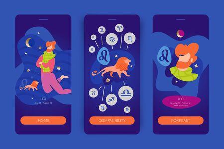 Leo man zodiac sign. Mobile app screens for horoscopes, astrology applications, websites, predictions.