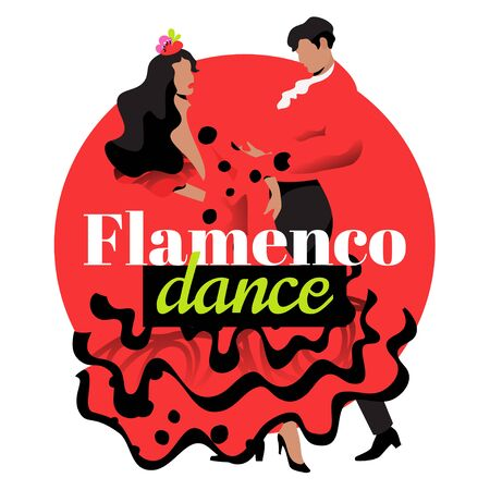 Red flamenco dancers template with text. Two modern faceless characters in Spanish dance pose isolated on white background.
