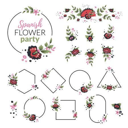 Flowers and frames vector set in Spanish style.Black and red flowers in geometric frames. Standard-Bild - 138894676