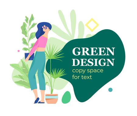 Woman caring for houseplant in a pot. Trendy illustration with a girl holding an indoor plant. Urban jungle and plants theme.