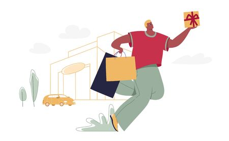 Man with shopping bags and gift box. Modern male funny character design over the mall and car linear illustration. Flat and linear image for season sales, shopping malls, markets, promotion materials.