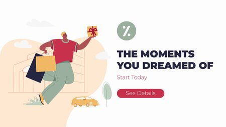 Moments you dreamed of site header template. Funny man with shopping bags. Modern male funny character design over the mall and car linear illustration.   イラスト・ベクター素材