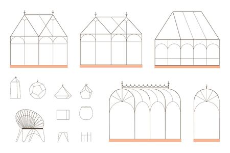Empty glasshouses, terrariums and chair in linear style. Indoor garden related images isolated on white background.