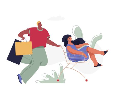 Couple riding shopping cart vector isolated illustration. Modern flat character for web and app design, season sales, marketing materials, e-commerce.