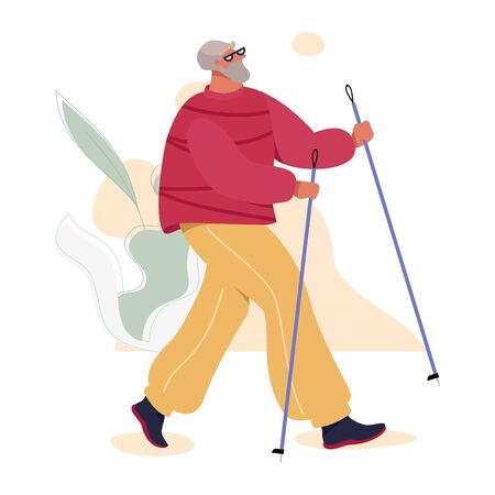Nordic Walking Senior Man in Sport Suit Doing Outdoor Exercises. Healthy Active Life Vector Concept.