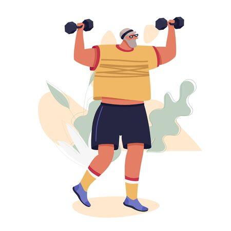 Elderly Man With Dumbbells. Man With Dumbbells Doing Outdoor Exercises. Healthy Active Life Vector Concept. Vettoriali
