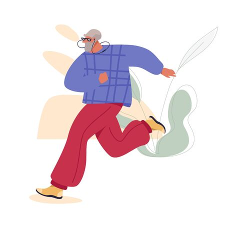 Jogging Senior Man in Sport Suit Doing Outdoor Exercises. Healthy Active Life Vector Concept.