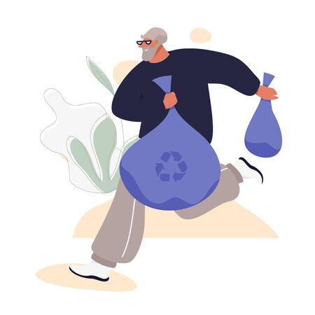 Happy Senior Man Plogging: Jogging With Picking Up Litter. Aged Man in Sport Suit Taking Care Of Nature. Healthy Active Life Vector Concept. Ilustracja