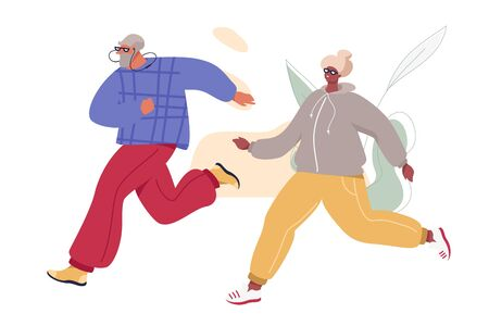 Happy Senior Couple Jogging. Aged Man and Woman in Sport Suits Doing Morning Exercises. Healthy Active Life Vector Concept.