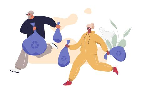 Happy Senior Couple Plogging: Jogging With Picking Up Litter. Aged Man and Woman in Sport Suits Taking Care Of Nature. Healthy Active Life Vector Concept.