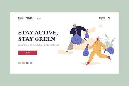 Stay Active, Stay Green Landing HeadeTemplate. Aged Man and Woman in Sport Suits Taking Care Of Nature. Healthy Active Life Vector Concept.