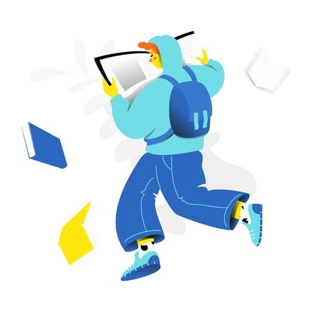 Teenage boy with open book. Modern trendy vector character for app and web design. Education and reading concept. 向量圖像