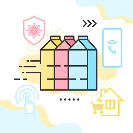 Dairy goods delivery due to the COVID-19 quarantine vector illustration. Three milk carton boxes, shield with virus icon, mobile phone, and house with shopping cart within.