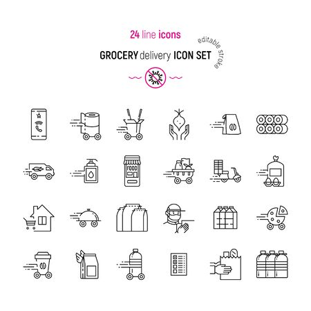 Linear grocery delivery icons. Vector illustrations with editable stroke. Food and goods delivery service due to the COVID-19 quarantine. Toilet paper rolls, wheeled water bottle, hands with package and such.