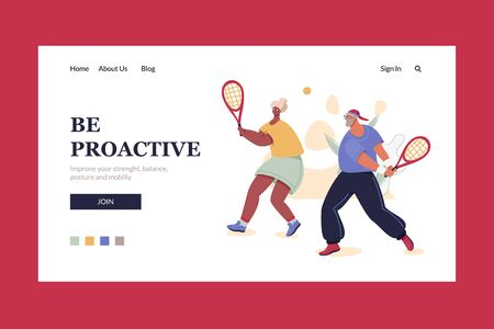 Be Proactive web site header template with senior couple play tennis. Healthy lifestyle for aging people concept. Sport and fitness vector horizontal banner layout. Ready to use