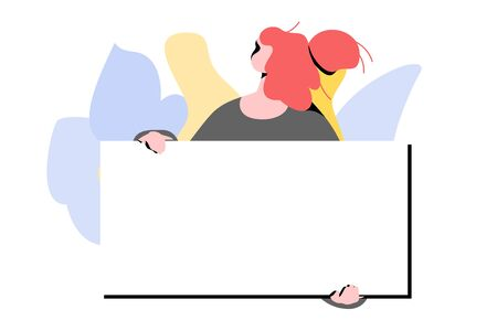 Modern female faceless character with blank placard. Vector template with copy space for text. Activist, protesting, feminism, and advertising usage.  イラスト・ベクター素材