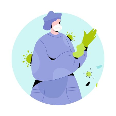 Medic in protective suit putting on gloves. Modern vector illustration of person character in white medical face mask. Stop Coronavirus concept. Illustration