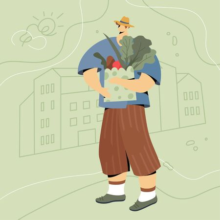 Farmer with vegetables in paper bag. Modern flat faceless character in hat and short pants over green linear landscape.