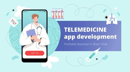 Telemedicine app development banner template with male doctor on mobile screen and medical icons around. Smart or telemedicine vector concept. Ilustración de vector