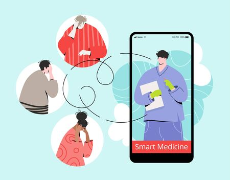 Smart medicine online vector illustration with modern characters. Doctor in overall and protective gloves on mobile screen and sick people avatars around.  イラスト・ベクター素材