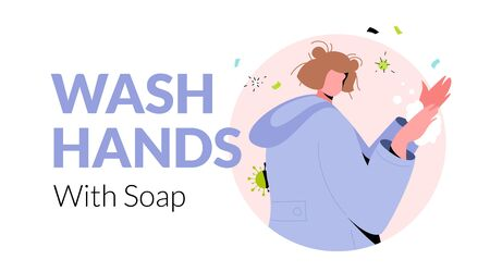 Wash Hands With Soap words with young woman washing hands. Medical advice banner template with modern character and minimalist design. Illustration
