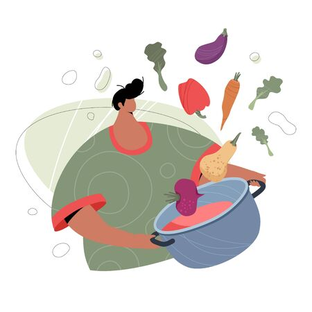 Man with saucepan and vegetables. Modern man fictional character cooking vegetarian food. Vector healthy lifestyle concept. Illustration