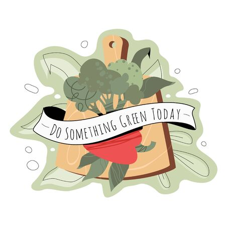 Veggie sticker or tattoo design with cutting board, broccoli, paprika, ribbon and words Do Something Green Today. Vector healthy lifestyle, vegan and vegeterian concept. Illustration