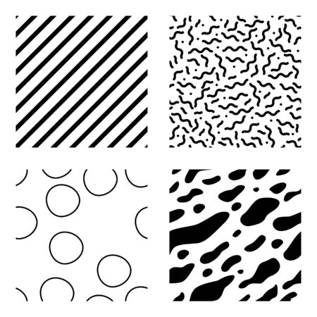Black and white seamless pattern set of stripes, cycles, and organic forms. Vector multipurpose design with changeable color.