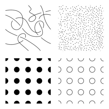 Dots and lines seamless pattern set of dots, cycles, and threads. Vector multipurpose design with changeable color.