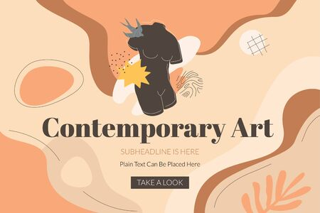 Contemporary art banner template with the black female torso, swallow bird, and abstract shapes. Modern design in terracotta shades for exhibitions, art schools, master classes. Vector art.