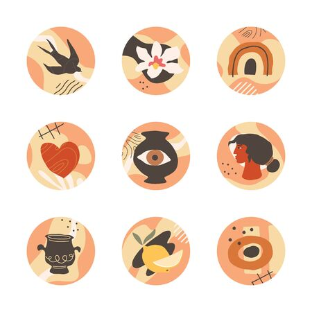 Highlights covers. Icon set for social media story highlights. Female head, swallow bird, orchid flower, pot, eye, heart, lemon and abstract shapes. Modern design in terracotta shades. Vector art.