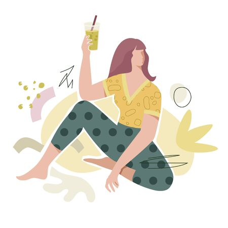 Fashion girl with celery juice in glass with straw. Modern flat character design with abstract shapes in pastel colors. Fashion, healthy lifestyle, or vegan vector concept. Illusztráció