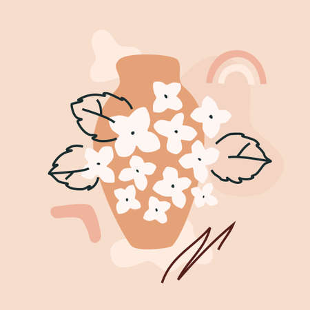 Clay pot and hortensia bloom. Abstract trendy composition on a blush pink background. Modern illustration for web or app design, wall decoration, print materials. Ilustrace