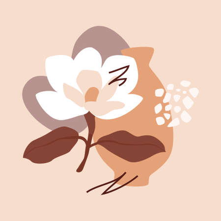 Clay pot and magnolia bloom. Abstract trendy composition on a blush pink background. Modern illustration for web or app design, wall decoration, print materials.