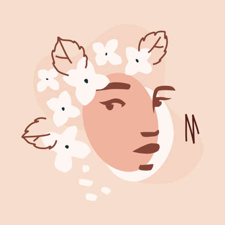 Female stencil face and hortensia. Abstract trendy floristic design isolated on a blush pink background. Modern illustration for web or app design, wall decoration, brand identity materials.