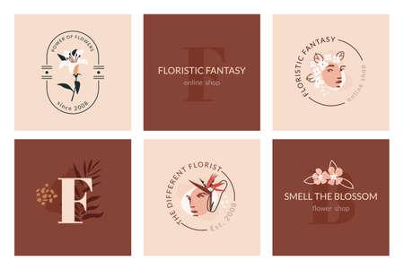 Floristic fantasy emblem templates. Abstract trendy floristic design. Modern feminine and masculine illustration for web or app design, wall decoration, brand identity materials. Ilustração