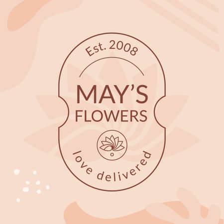 May's flower vector emblem template isolated on pastel background.  イラスト・ベクター素材